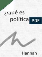 Hanna Arendt Que Es La Politica