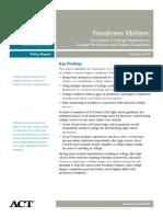 Readiness Matters