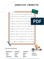 Classroom Objects - Wordsearch Para Vicky