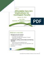 ACA Webinar for Contingent Faculty Jan 23 2013