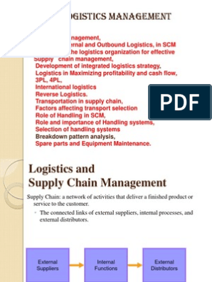Logistics Management Unit2 Complete | Logistics | Supply