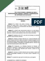 Ley 1597 Del 21 de Diciembre de 2012