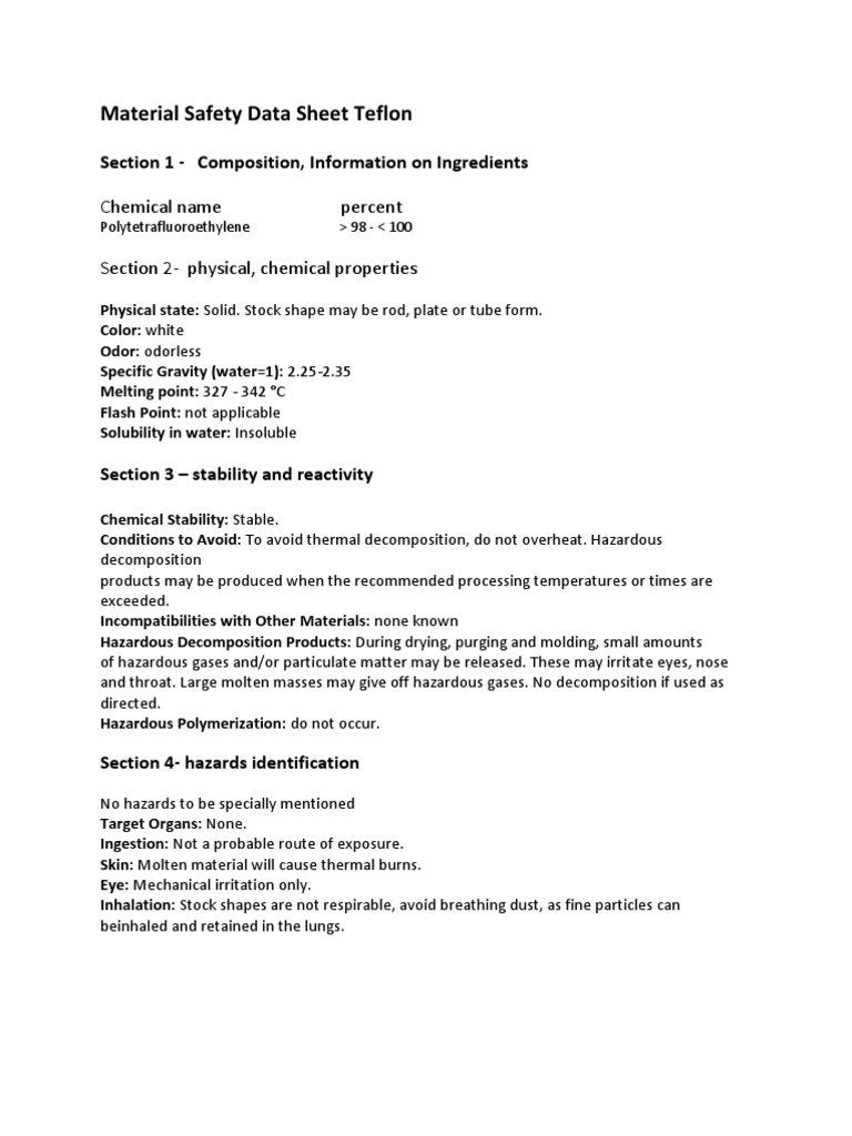 Teflon Msds | Firefighting | Materials