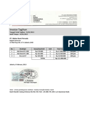 Invoice Tagihan Alat Berat