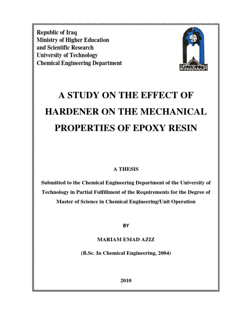 A Study on the Effect of Hardener on the Mechanical Properties of
