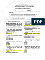IARI PhD Entrance Question Paper 2011 - Molecular Biology and Biotechnology