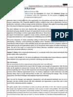 Organizational Behavior I - Chapter 1