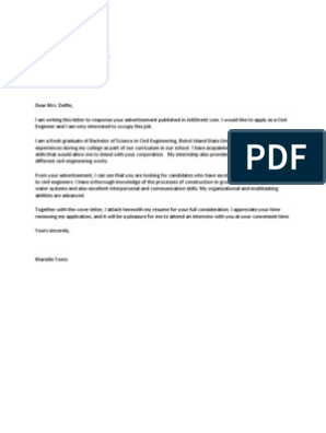 Example Application Letter For Fresh Graduate Civil Engineer Engineering Academia