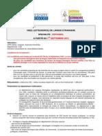 Poste de Lecteur/Lectrice d´Espagnol LEA (2013 2014). Université de Savoie