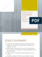 Hse Policy Statement and Description