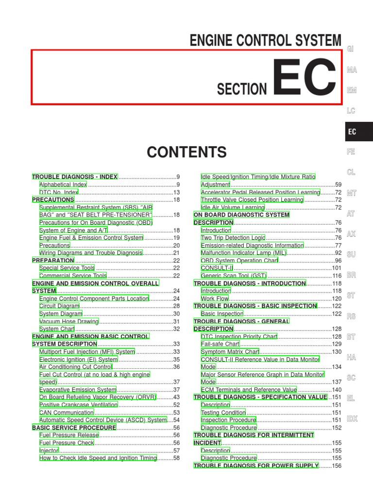 03 Nissan Maxima Engine Control | Medical Diagnosis | Internal Combustion  Engine