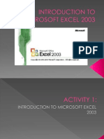 Introduction to Microsoft Excel 2003
