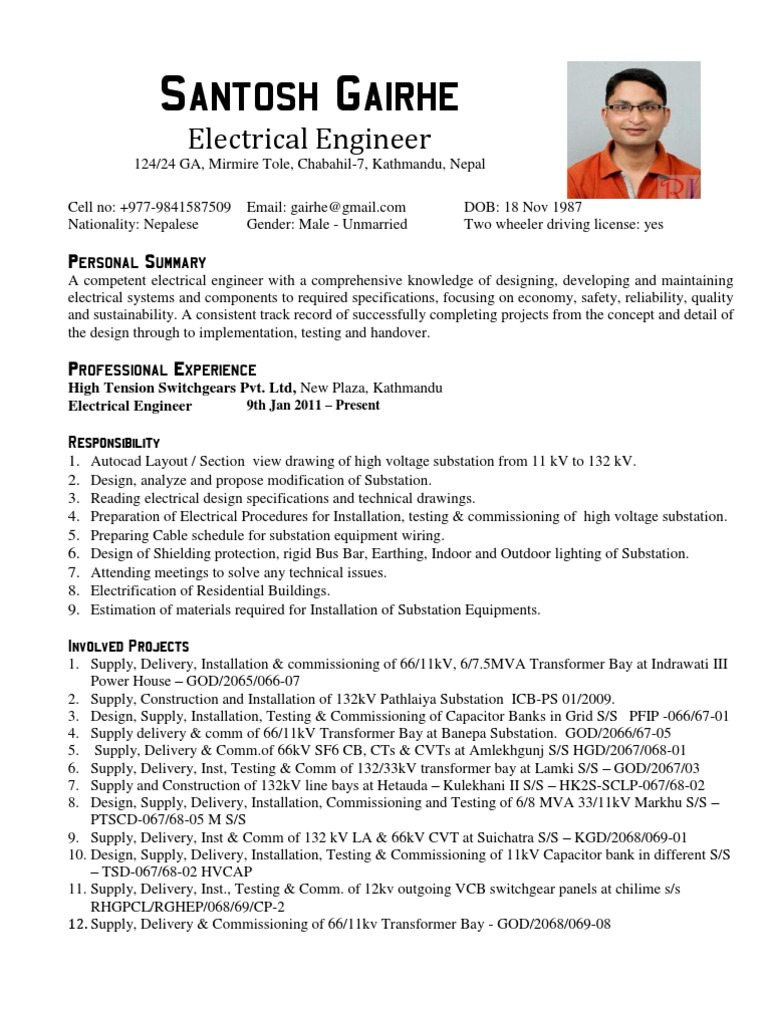 Electrical Engineer CV sample Electrical Substation Electricity