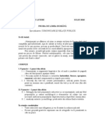 Subiect Admitere 2010 Litere Comunicare si Relatii Publice-  Limba Romana