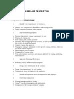 Training Manager Job Description