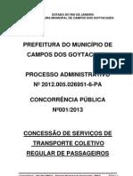 EDITAL LICITAÇÃO TRANSPORTE COLETIVO CAMPOS DOS GOYTACAZES