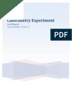 Calorimetry Experiment Lab Report