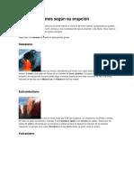 Tipos de volcanes según su erupción