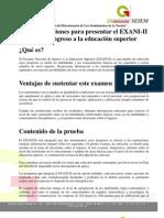 Recomendaciones para Presentar el Exani II para ingreso a la educación superior