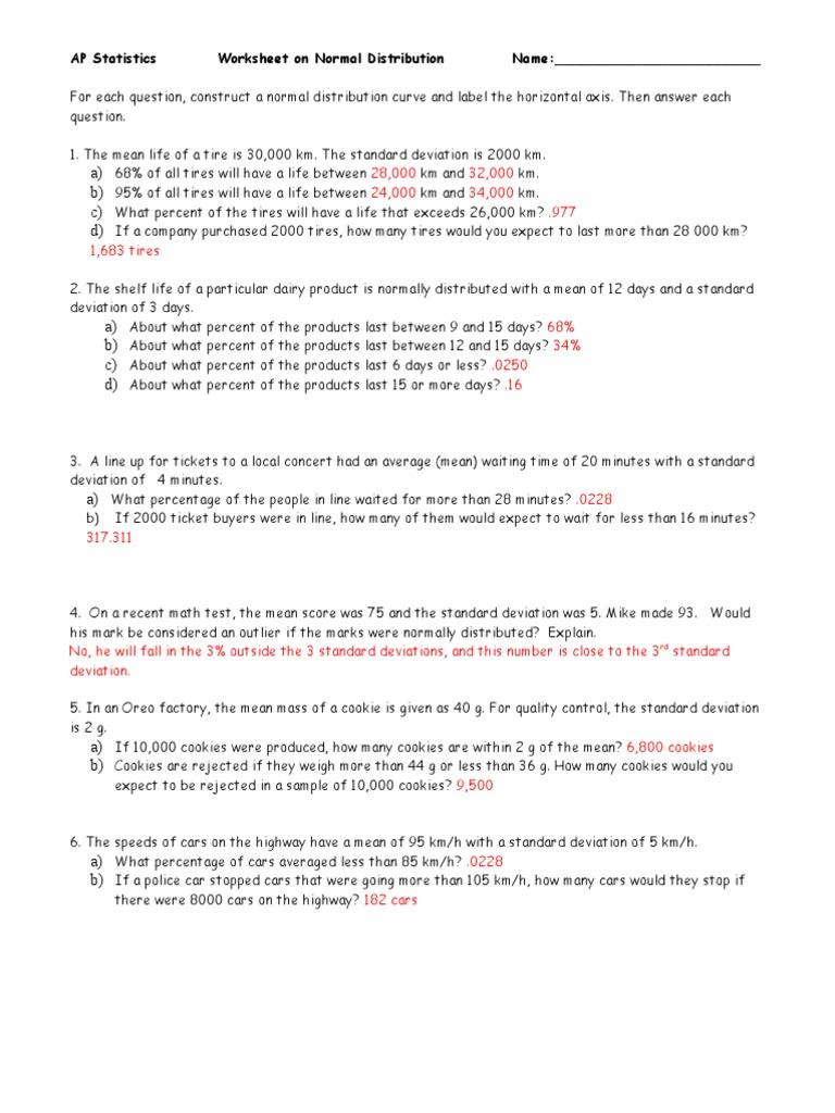 Normal Distribution Worksheet 2 - ANS | Standard Deviation | Mean
