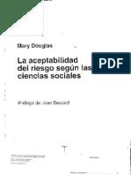 La aceptabilidad del riesgo según las ciencias sociales - Mary Douglas
