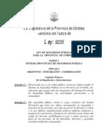 Ley 9235 Seguridad Publica Provincia Cordoba