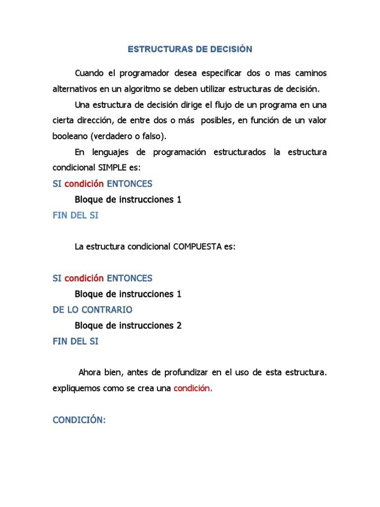 Estructuras De Decisión C Ingeniería Informática