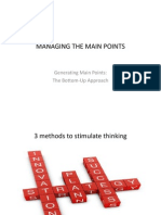 Managing the Main Points Generating Main Points