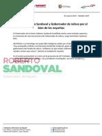 01-03-13 Boletin 1427 Unidos, Roberto Sandoval y Gobernador de Jalisco por el bien de los nayaritas