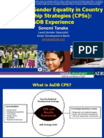 Integrating Gender Equality in CPS ADB Experience