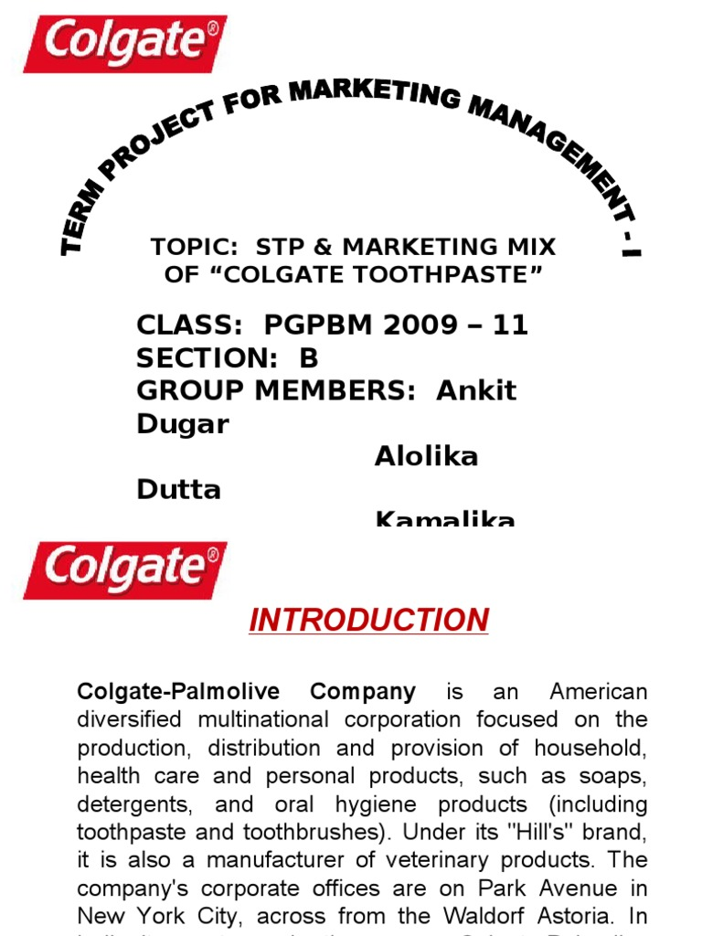 colgate toothpaste marketing mix