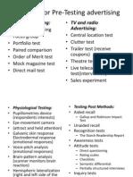 Methods for Pre-Testing Advertising
