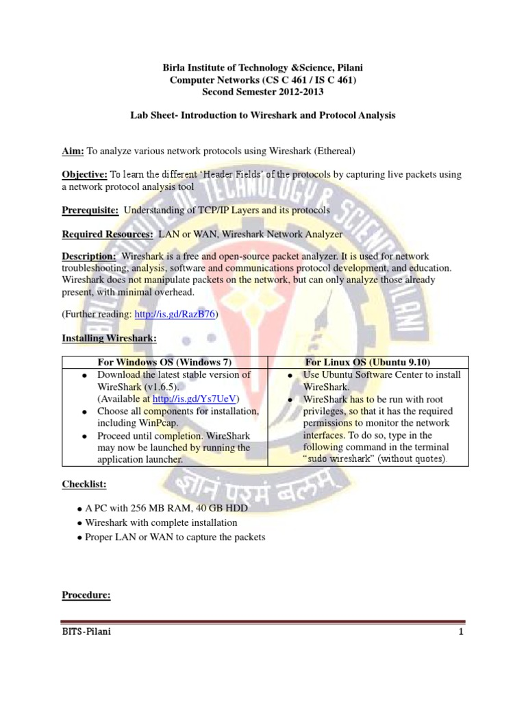 LABSHEET-1 Introduction to the Wireshark and Analysis of a