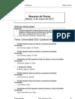 Resumen Prensa CEU-UCH 5-03-2013