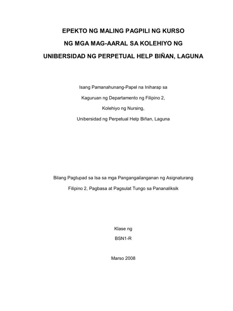 filipino thesis tungkol sa pagpili ng kurso