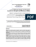Effect of Nitrogen Supply and Genotypic Variation for Nitrogen Use Efficiency in Maize