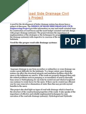 Road Side Drainage Matter | Drainage | Civil Engineering