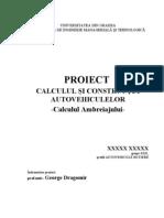 Proiect Calculul Si Constructia Autovehiculelor - Calculul Ambreiajului
