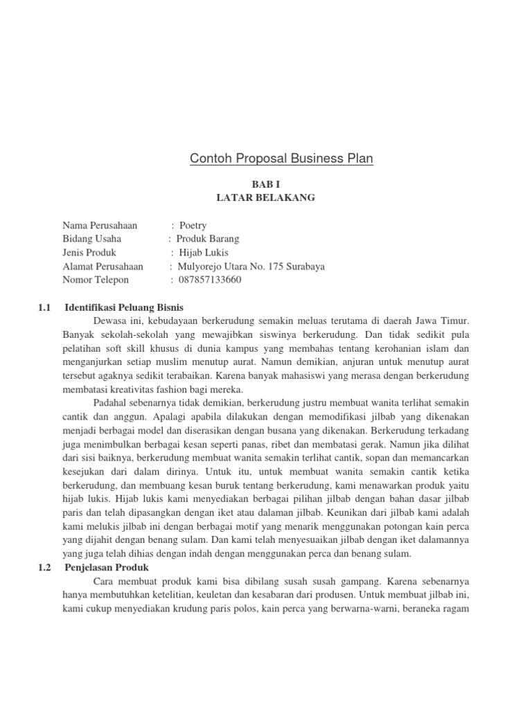 contoh proposal business plan jilbab lukis