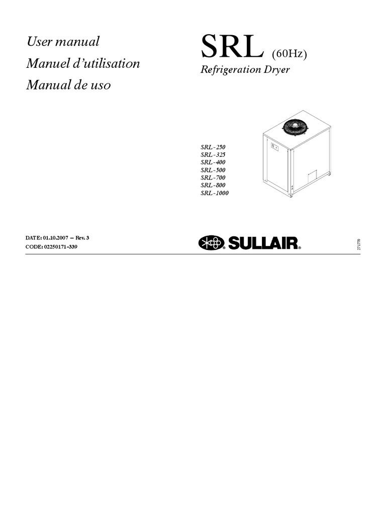 manual de usuario secador de aire sullair 250 1000 pdf rh scribd com
