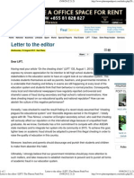 Letter to the Editor (Academic Fraud in Cambodia by Sam Rany) the Phnom Penh Post