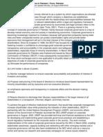 Corporate Governance Practices in Pakistan