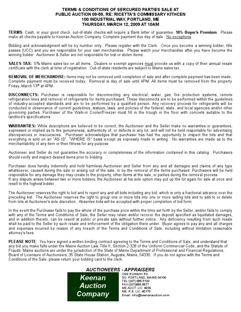 09 59 Ricettas Auction Sales