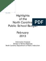 Highlights of the North Carolina Public School Budget 2013