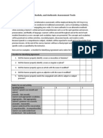 Type of Assessment, Schedule, And Authentic Assessment Tools
