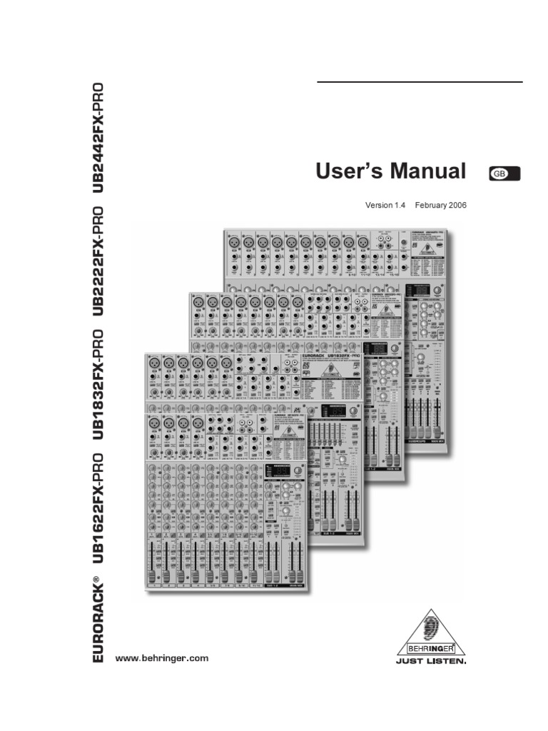 Ub1622fx Manual Equalization Audio Microphone Behringer Crossover Wiring Diagram
