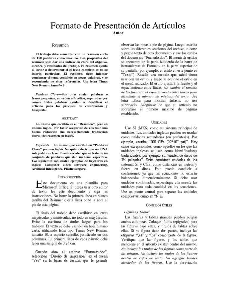 Excelente Ejemplo De Formato De Texto Resumido Ideas - Ejemplo De ...