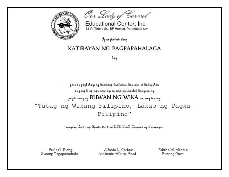 Certificate of appreciation sample tagalog images certificate sample certificate of appreciation tagalog gallery certificate sample certificate of appreciation tagalog image collections sample certificate yelopaper Choice Image