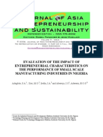 Adegbite - Impact of Entre Characteristic to Perform Small Business