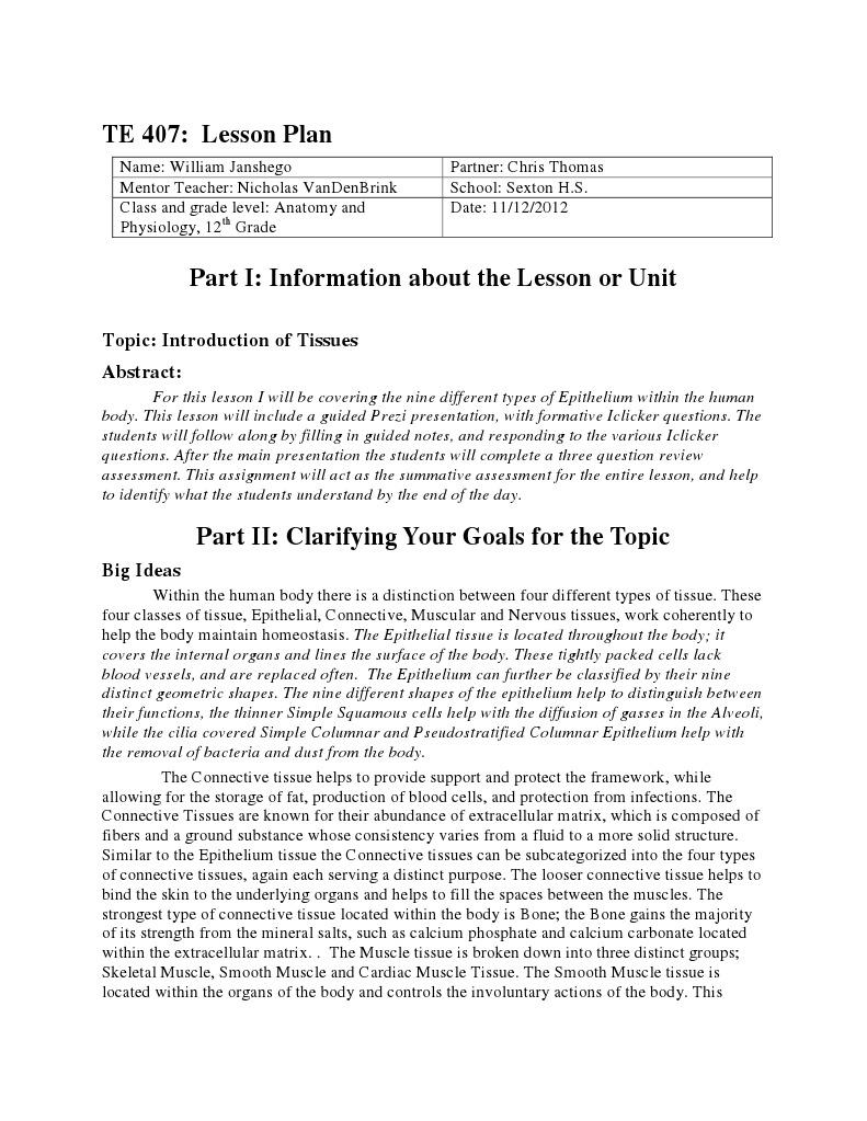 epithelial tissue lesson plan 1 | Epithelium | Tissue (Biology)